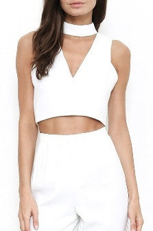 Sleeveless Choker Neck Crop Top - White