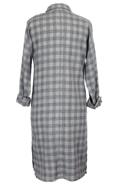 Checkered Button Down Midi Shirt Dress - Blue Gray