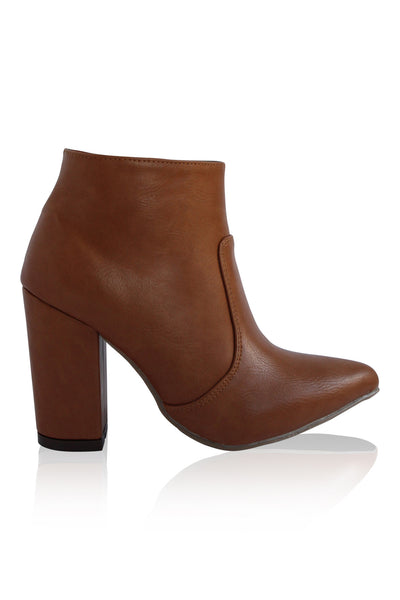 """Brittany"" Chunky Heel Pointy Toe Booties - Cognac"