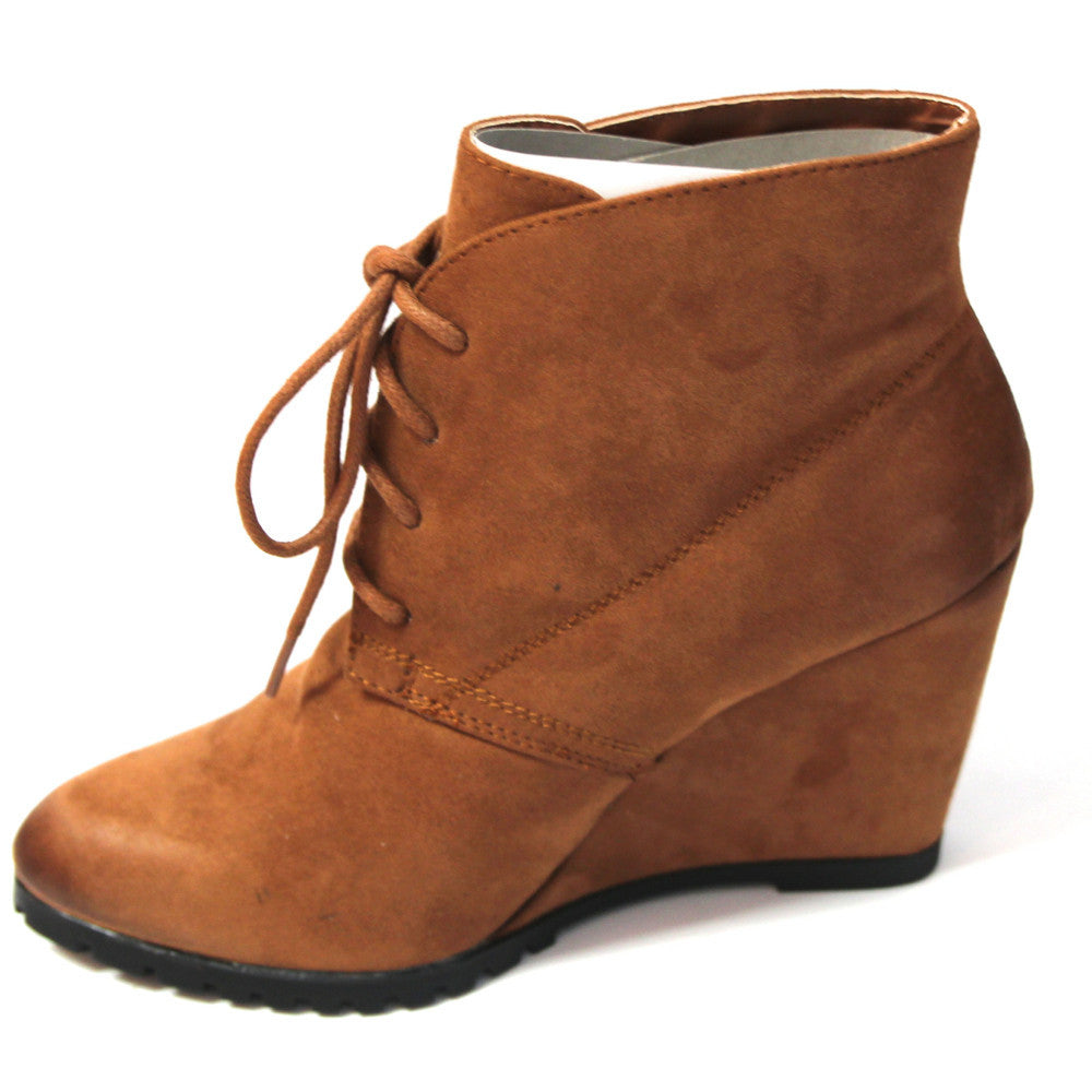 """Tustin"" Suede Lace Up Wedge Booties - Camel"