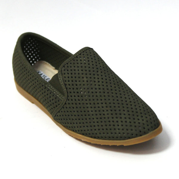 """Covina"" Perforated Flat Loafers - Olive"