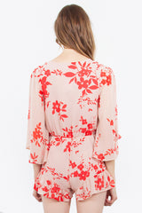 Floral Print Bell Sleeves Crossover Front Ruffle Trim Romper - Peach/Coral