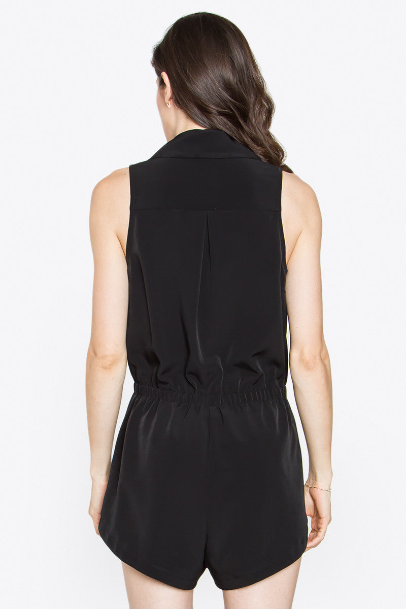 Sleeveless Tuxedo Style Crossover Romper - Black