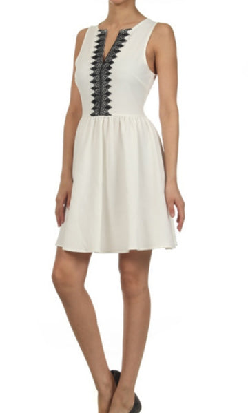 Take Me to Church Contrast Embroidered Notch Neck Fit & Flare Dress - White/Black