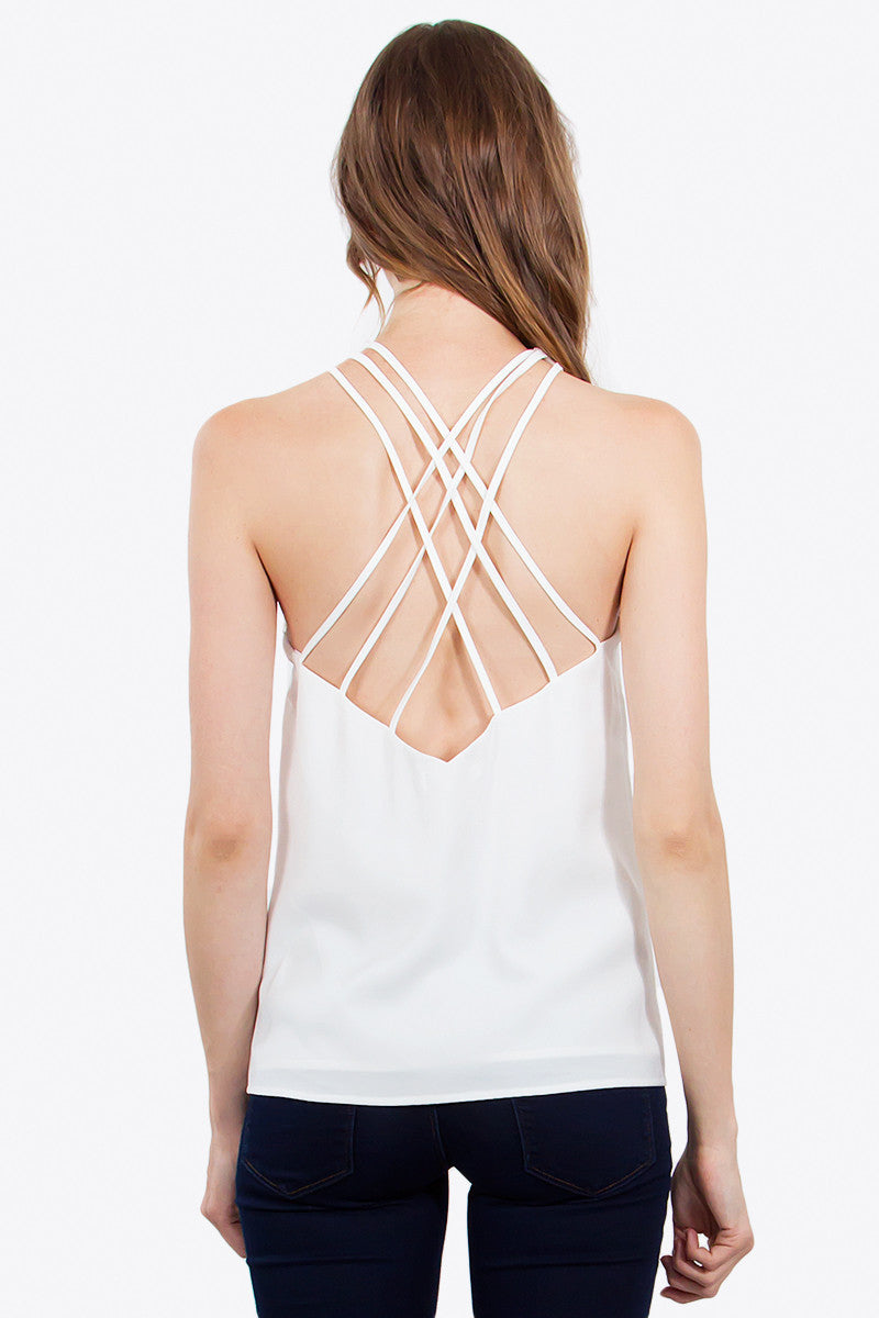 Crossed Halter Neck Strappy Back Top - Ivory
