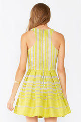 Sweet Emotion Organza Striped Fit and Flare Cocktail Dress - Chartreuse