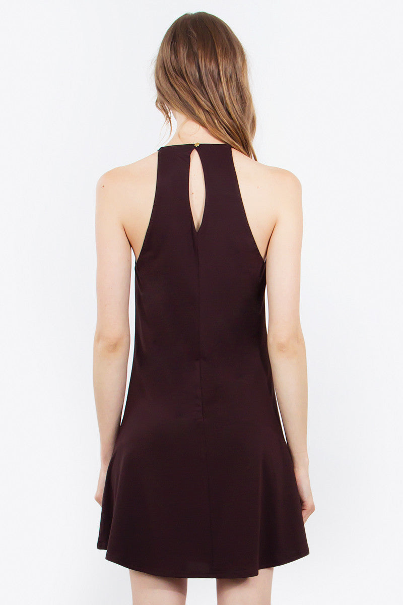 Christy High Neck Swing Dress - Dark Brown