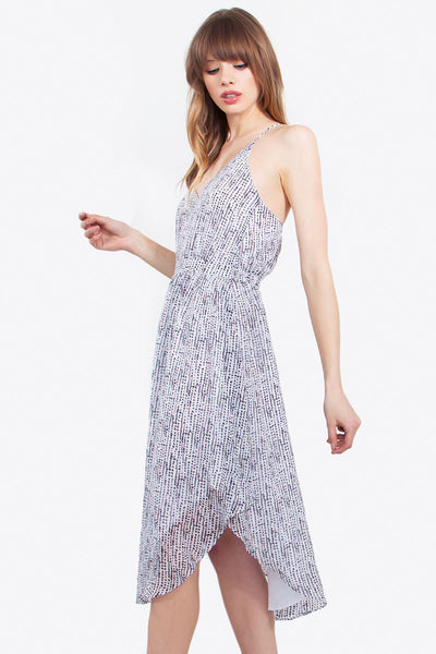 Sleeveless Spotted Curved Hem Midi Dress - White/Black