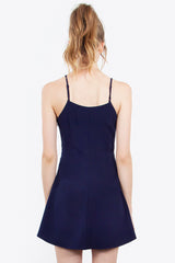 Spaghetti Strap Silky Darted A Line Cocktail Dress - Navy Blue