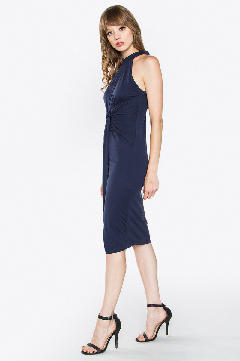 Rory Twist Front High Neck Bodycon Midi Dress - Navy Blue