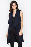 Ella Long Drapey Tunic Vest - Navy Blue