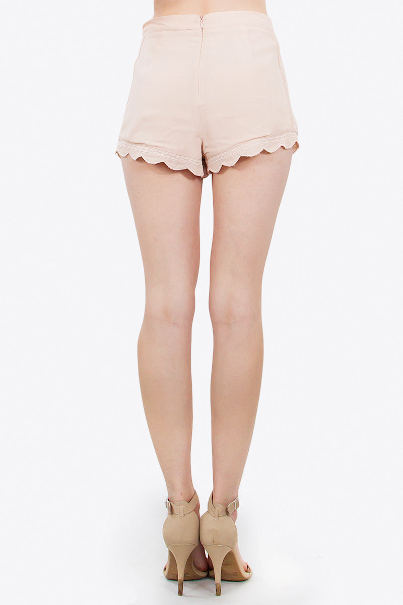 Embroidered Trim Scallop Hem Shorts - Dusty Pink