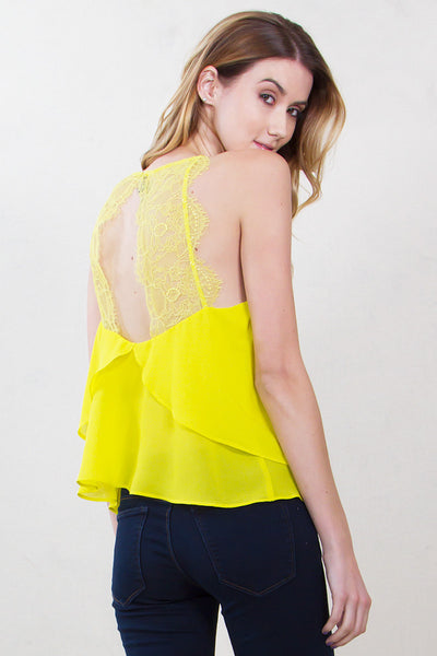 Scalloped Open Lace Back Halter Top - Chartreuse