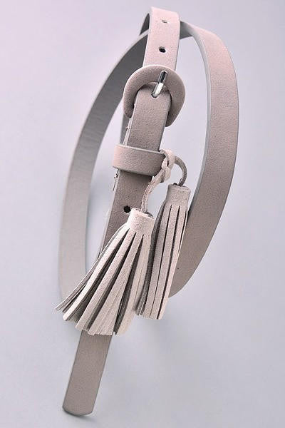 Simple Thin Suedette Tassel Belt - Gray