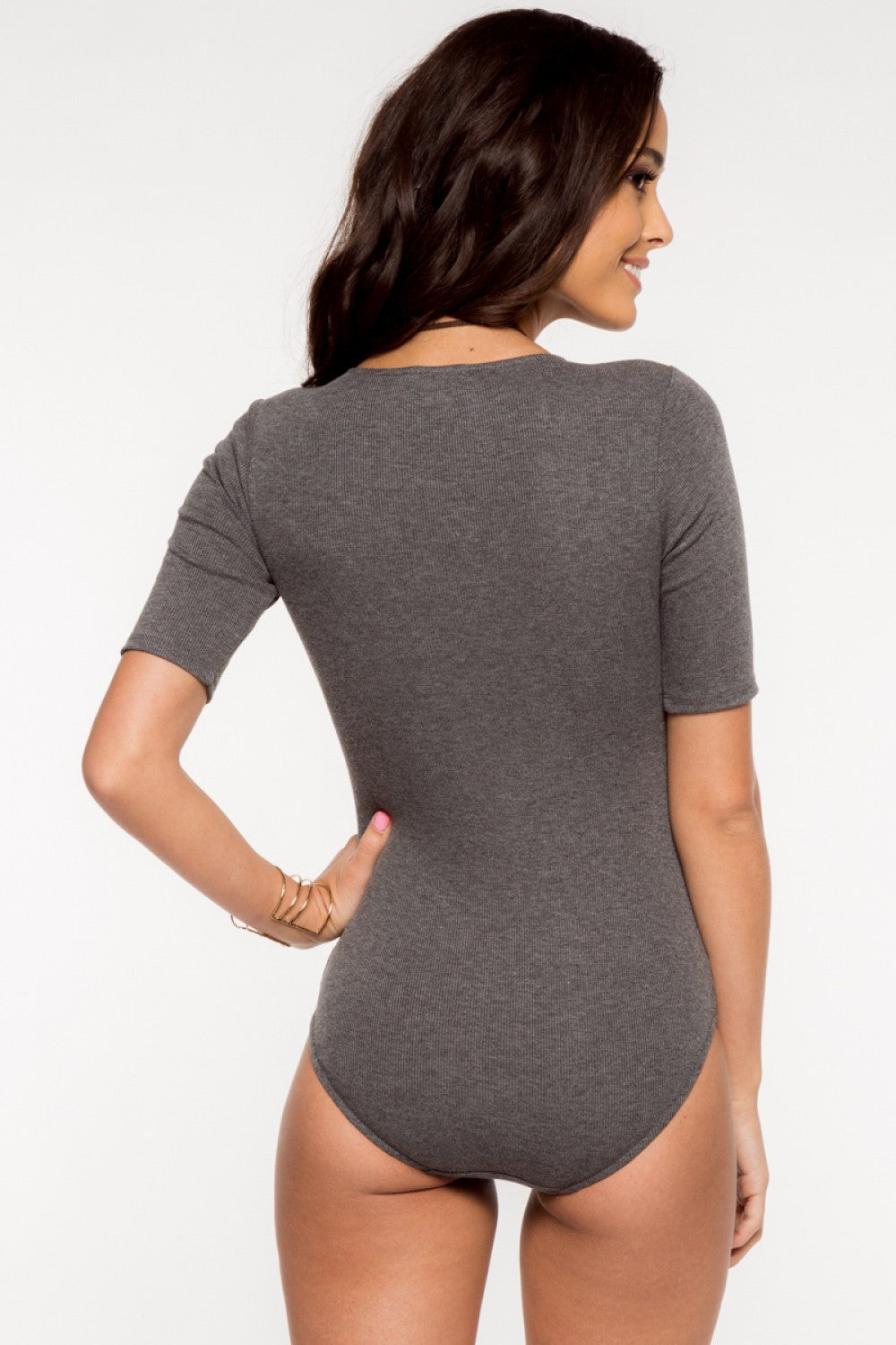 3/4-Sleeve Cross Over Front Ribbed Bodysuit - Charcoal Gray