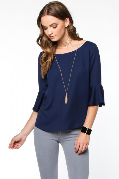 3/4-Length Bell Sleeves Tie Back Blouse - Navy Blue