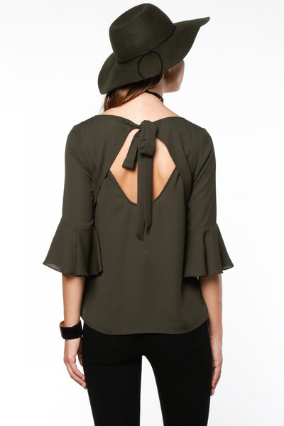 3/4-Length Bell Sleeves Tie Back Blouse - Olive Green