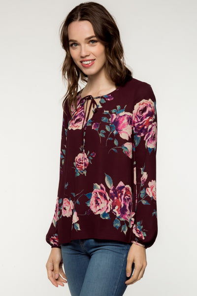 Long Sleeve Floral Print Blouse with Front Tie - Plum