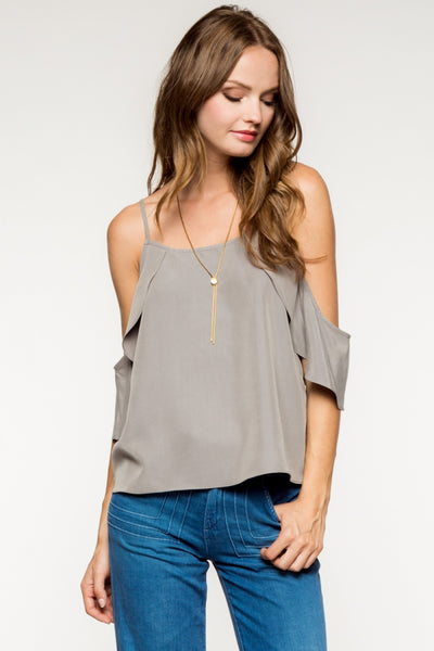 Cold Shoulder Ruffles Blouse - Gray