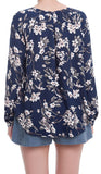 Long Sleeve Floral Print Strappy Front Crossover Blouse - Navy/Multi