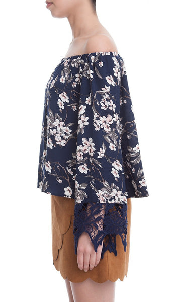 Floral Print Off the Shoulder Blouse with Lace Trim Long Sleeves - Navy/Multi