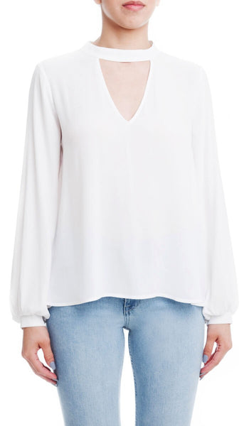Long Sleeve Mock Notch Neck Blouse - Ivory