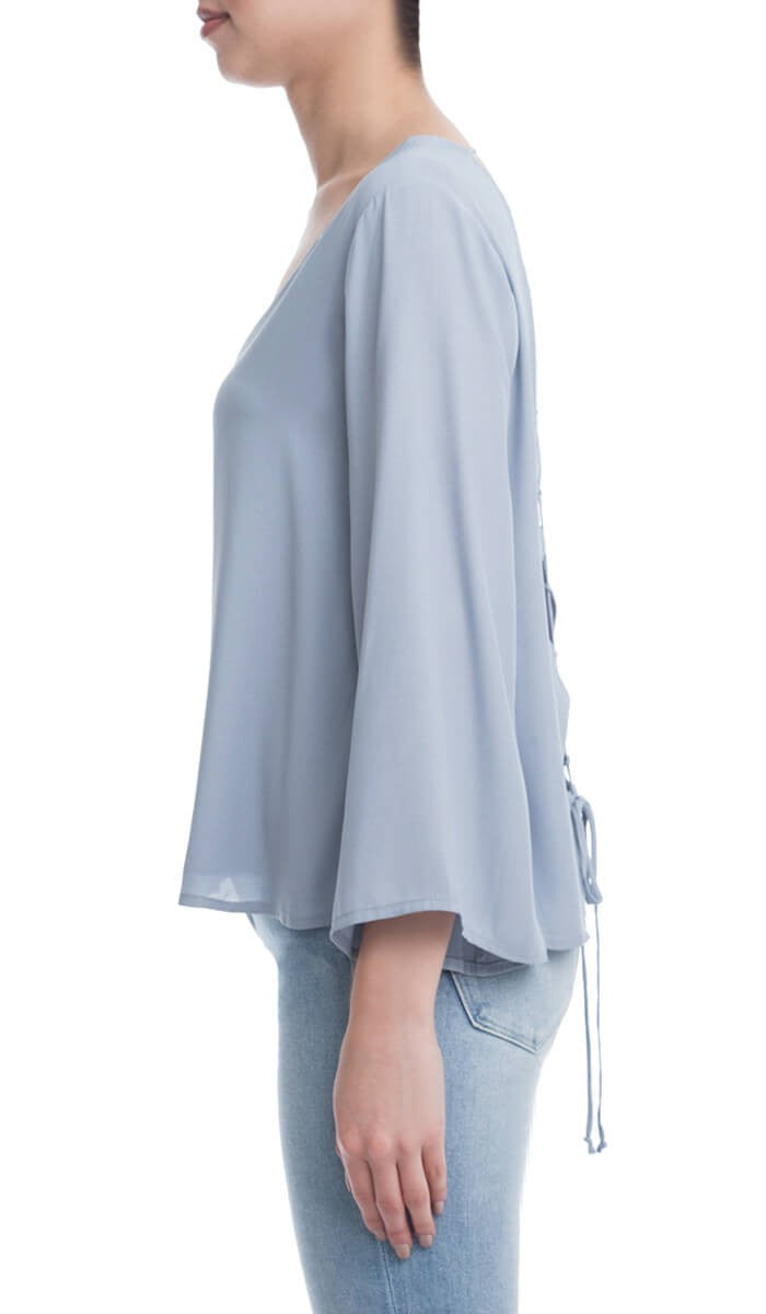 Wide Sleeve V Neck Blouse with Lace Up Back - Blue Gray