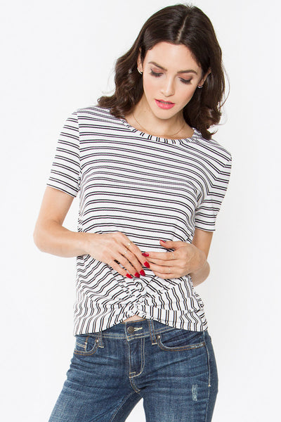 Kasen Striped Twist Front Short Sleeve Tee - White/Black