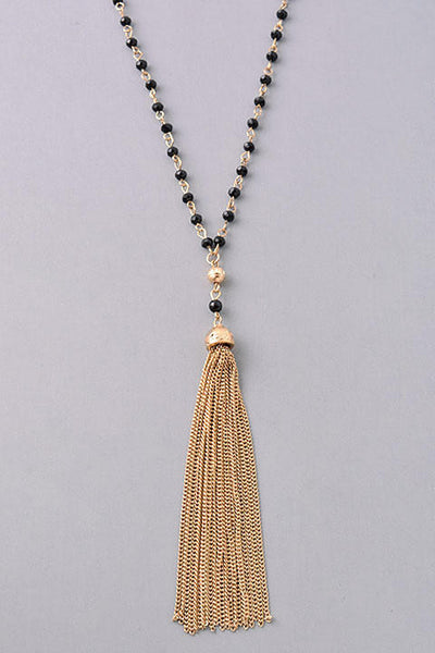 Long Crystal Beaded Tassel Pendant Necklace - Black/Gold