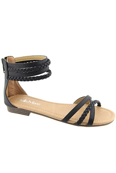 """Tikki"" Braided Ankle and Toe Straps Flat Sandals - Black"