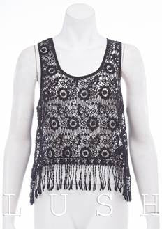 Beach Babe Allover Crochet Tank Top with Fringe - Black