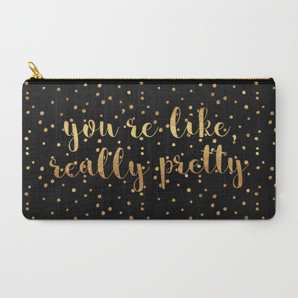 """You're Like, Really Pretty"" Polka Dots Zipper Pouch - Black/Gold"