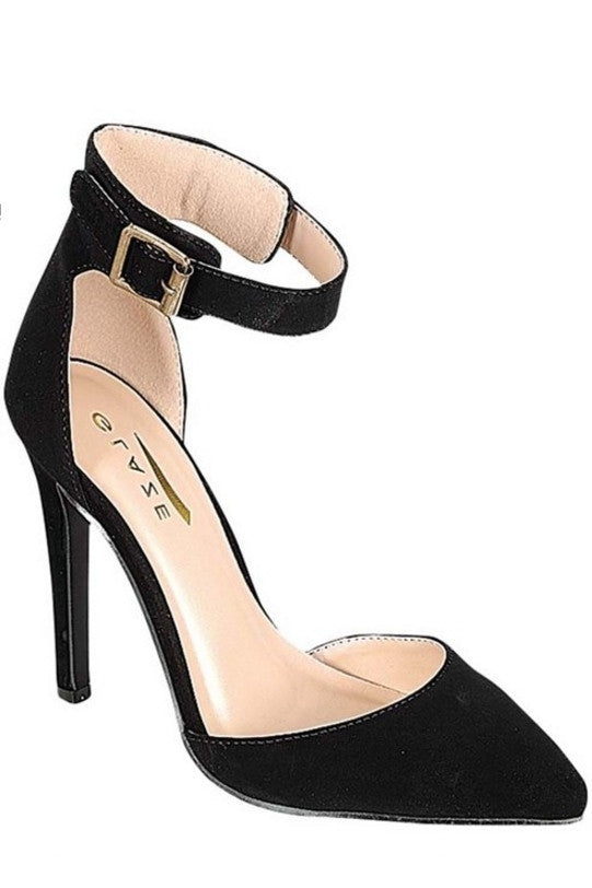 """Yuni"" Ankle Strap Almond Toe High Heels - Black"