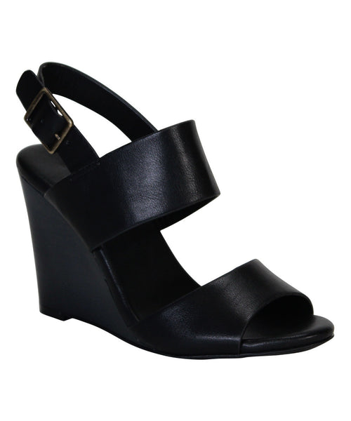 """Whimsical"" Double Strap Wooden Wedge Sandals - Black"