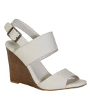 """Whimsical"" Double Strap Wooden Wedge Sandals - White"