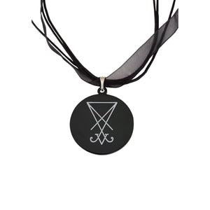Sigil of Lucifer organza ribbon necklace
