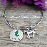 Horse Bracelet with name plate and birthstone