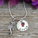 Seahorse Necklace with name plate and birthstone