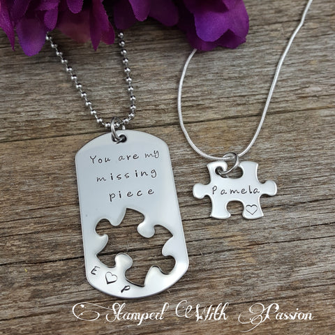 You are my missing piece - Puzzle piece Necklace