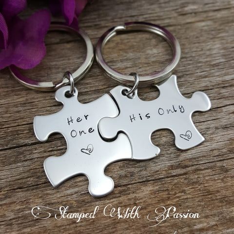 Puzzle Piece Key chain set