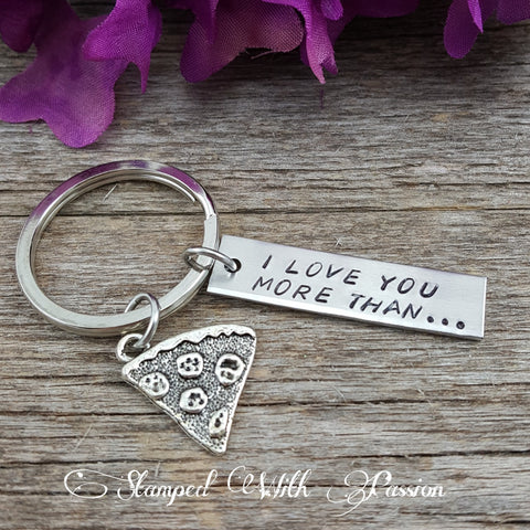 I love you more than pizza keychain