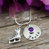 Ice skater Necklace with name plate and birthstone