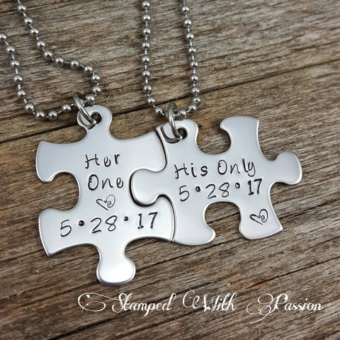 His and Her Puzzle Piece Necklace Set  With Date