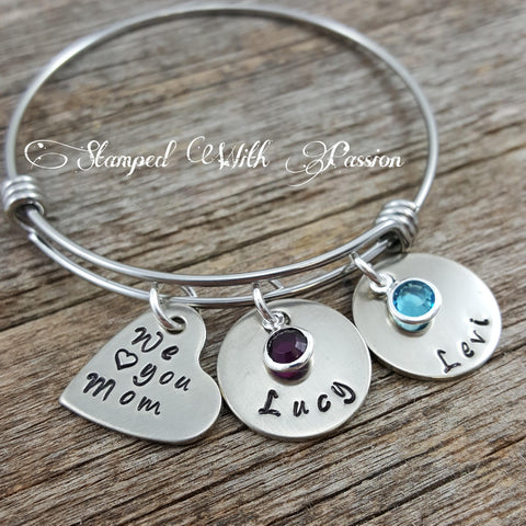 We love you mom bangle bracelet