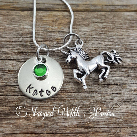 Unicorn Necklace with name plate and birthstone