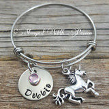 Unicorn Bracelet with name plate and birthstone