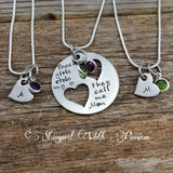 Mother Daughter Necklace Set - Mother two 2 Daughters Jewelry Set of 3