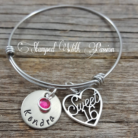 Sweet 16 Gift, Sweet 16 Heart Charm Bangle