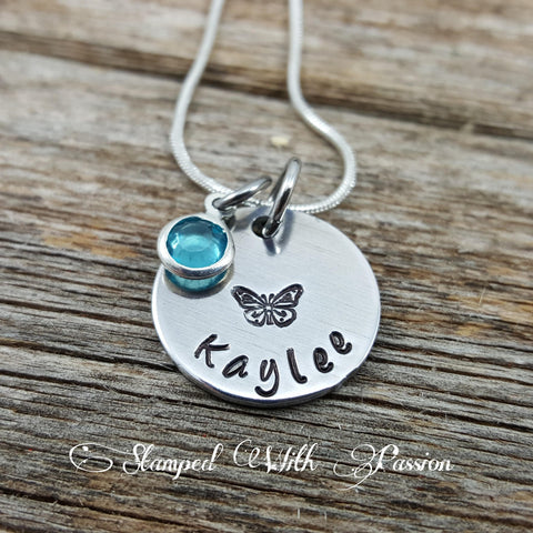 Butterfly Necklace • Little Girls Name Necklace