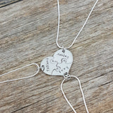 Best Friends, Forever 3 Piece Puzzle Necklace Set